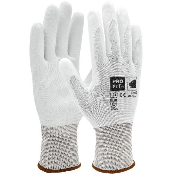 PU-Handschuh weiß, 12er Bund, S39122
